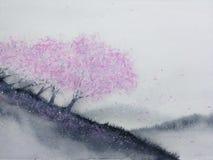Akwarela krajobrazu menchii drzew czereśniowy okwitnięcie lub Sakura liść spada wiatr w halnym wzgórzu z łąki polem tradycyjny ilustracji