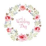 Akwarela kwiatów rama Zdjęcia Royalty Free