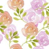 Akwarela kwiatu bezszwowy wzór Zdjęcia Royalty Free
