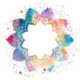 Akwarela kwiatu orientalna rama Zdjęcia Royalty Free
