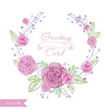 Akwarela kwiatu róż wianek royalty ilustracja