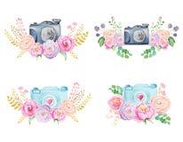 Akwarela kwiaty i kamera Zdjęcia Royalty Free