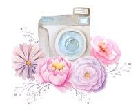 Akwarela kwiaty i kamera Obrazy Stock
