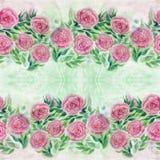 akwarela Kwiaty i liście róże na akwareli tle Abstrakcjonistyczna tapeta z kwiecistymi motywami bezszwowy wzoru zdjęcie royalty free