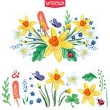 Akwarela kwiaty, zieleni gałąź ustawiać Lato Obraz Royalty Free