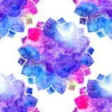 Akwarela kwiecistego ornamentu kolorowi lotosowi kwiaty Zdjęcie Stock