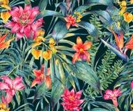 Akwarela kwiecisty tropikalny bezszwowy wzór royalty ilustracja
