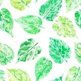Akwarela liść drukował bezszwowego wzór, serce kształtujący tropikalny Obrazy Stock