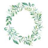 Akwarela liści gałęziasty wianek ilustracja wektor