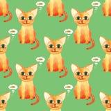 Akwarela ?licznego kota bezszwowy wz?r na zielonym bacground zdjęcia royalty free