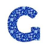 akwarela listowy G z wzorem kwiaty i liście zdjęcia stock