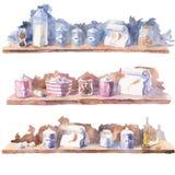 Akwarela malował obrazki stoły z różnymi składnikami Zdjęcie Stock