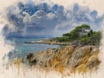 Akwarela malował plażę, niebieskie niebo, skały i drzewa, obrazy royalty free