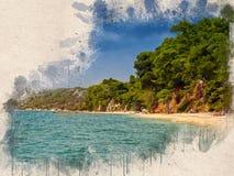 Akwarela malował plażę, niebieskie niebo, skały i drzewa, fotografia stock