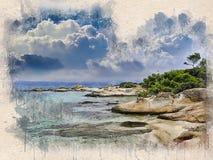 Akwarela malował plażę, niebieskie niebo, skały i drzewa, zdjęcia royalty free