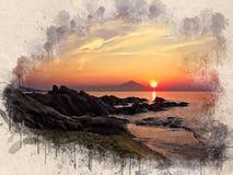 Akwarela malował plażę, zmierzch, pomarańczowego niebo, skały i drzewa, zdjęcie stock