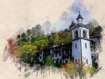 Akwarela malował starego kościół, Blagoevgrad, Bułgaria zdjęcia royalty free