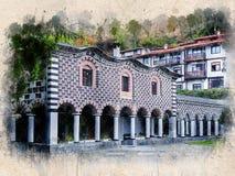 Akwarela malował starego kościół, Blagoevgrad, Bułgaria obrazy royalty free