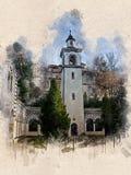 Akwarela malował starego kościół, Blagoevgrad, Bułgaria fotografia royalty free