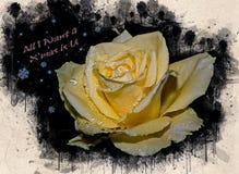 Akwarela malująca piękna kolor żółty róża fotografia royalty free
