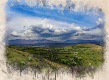 Akwarela malująca piękna zielona dolina obrazy royalty free