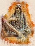 Akwarela malująca rzeźba stary człowiek zdjęcie royalty free