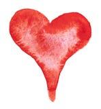 Akwarela malujący czerwony serce ilustracji