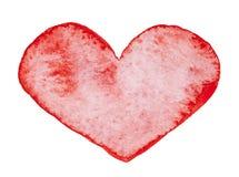 Akwarela malujący czerwony serce royalty ilustracja