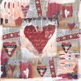 Akwarela malujący czerwony serce Miłości tło Obraz Stock