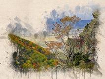Akwarela malujący piękny jesień las zdjęcia stock