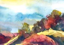 Akwarela maluje kolorowego krajobraz Wiosna, lato sezonu natury akwareli tło ilustracja wektor