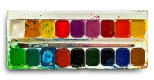 Akwarela maluje set i muśnięcie Obrazy Royalty Free