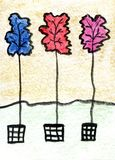 Akwarela maluje Trzy liścia Obrazy Royalty Free