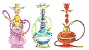 Akwarela nargile set ilustracji