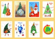Akwarela nowego roku i bożych narodzeń karty, tło, pocztówka, chodnikowiec, gratulacje, Szczęśliwy nowy rok 2019 Zima royalty ilustracja