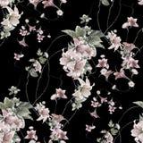 Akwarela obraz liść i kwiaty, bezszwowy ilustracja wektor