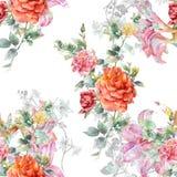 Akwarela obraz liść i kwiaty, bezszwowy royalty ilustracja