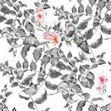 Akwarela obraz liść i kwiaty, bezszwowy wzór ilustracji