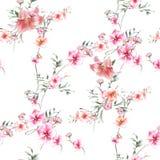 Akwarela obraz liść i kwiaty, bezszwowy wzór royalty ilustracja