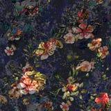 Akwarela obraz liść i kwiaty, bezszwowy wzór na zmroku ilustracja wektor