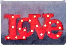Akwarela obraz miłość znak z lightbulbs w liście Fotografia Royalty Free