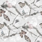 Akwarela obraz motyl i kwiaty, royalty ilustracja