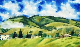 Akwarela obraz piękne chmury otacza zielonych halnych wzgórza ilustracji