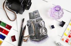 Akwarela obraz retro kamera, stara kamera, szczotkuje i maluje Zdjęcia Stock