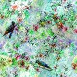 Akwarela obraz z ptakami i kwiatami bezszwowymi, royalty ilustracja