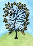 Akwarela obrazu bajki drzewo Obrazy Stock