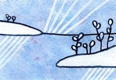 Akwarela obrazu bajki zimy scena z śniegiem Fotografia Stock