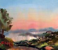 Akwarela obrazu krajobraz ilustracji