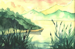 Akwarela obrazu krajobraz Zdjęcie Stock