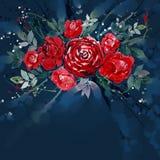 Akwarela obrazu kwiatu bukietów różana czerwień Obraz Royalty Free